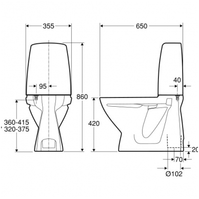 SIGN kombinuotas unitazas, vertikalus, 2/4 ltr. Fresh WC funkcija 2
