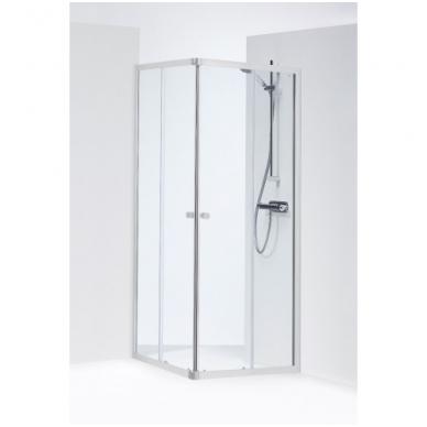 SILVER kvadratinė dušo kabina 90x90x190 cm, poliruoto aliuminio profilis, skaidrus 4mm stiklas
