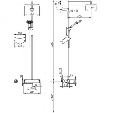 Termostatinė lietaus dušo sistema OPTIMA su rankiniu dušu, chromas 2
